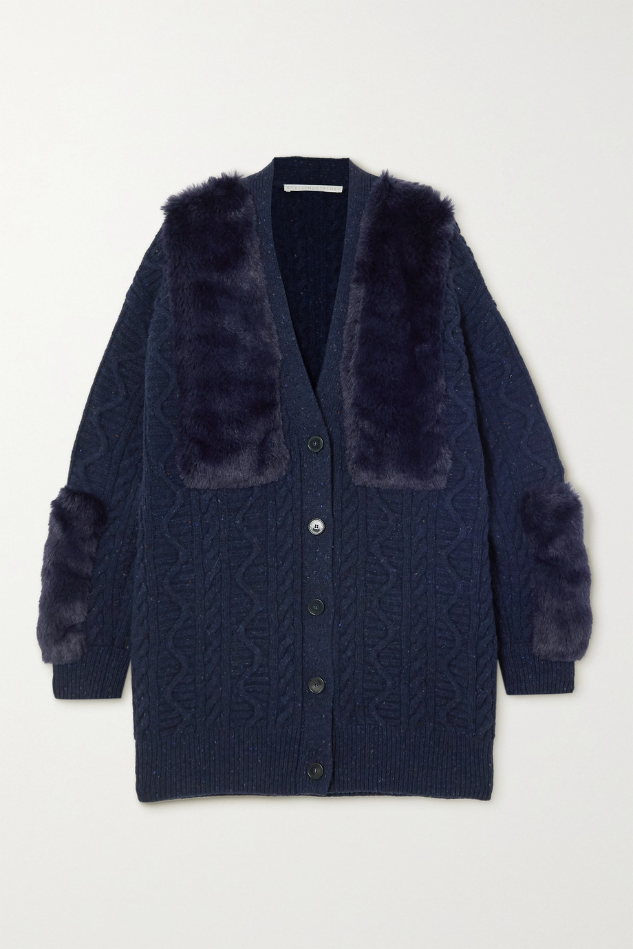Stella McCartney Cable-knit wool-blend and faux fur cardigan