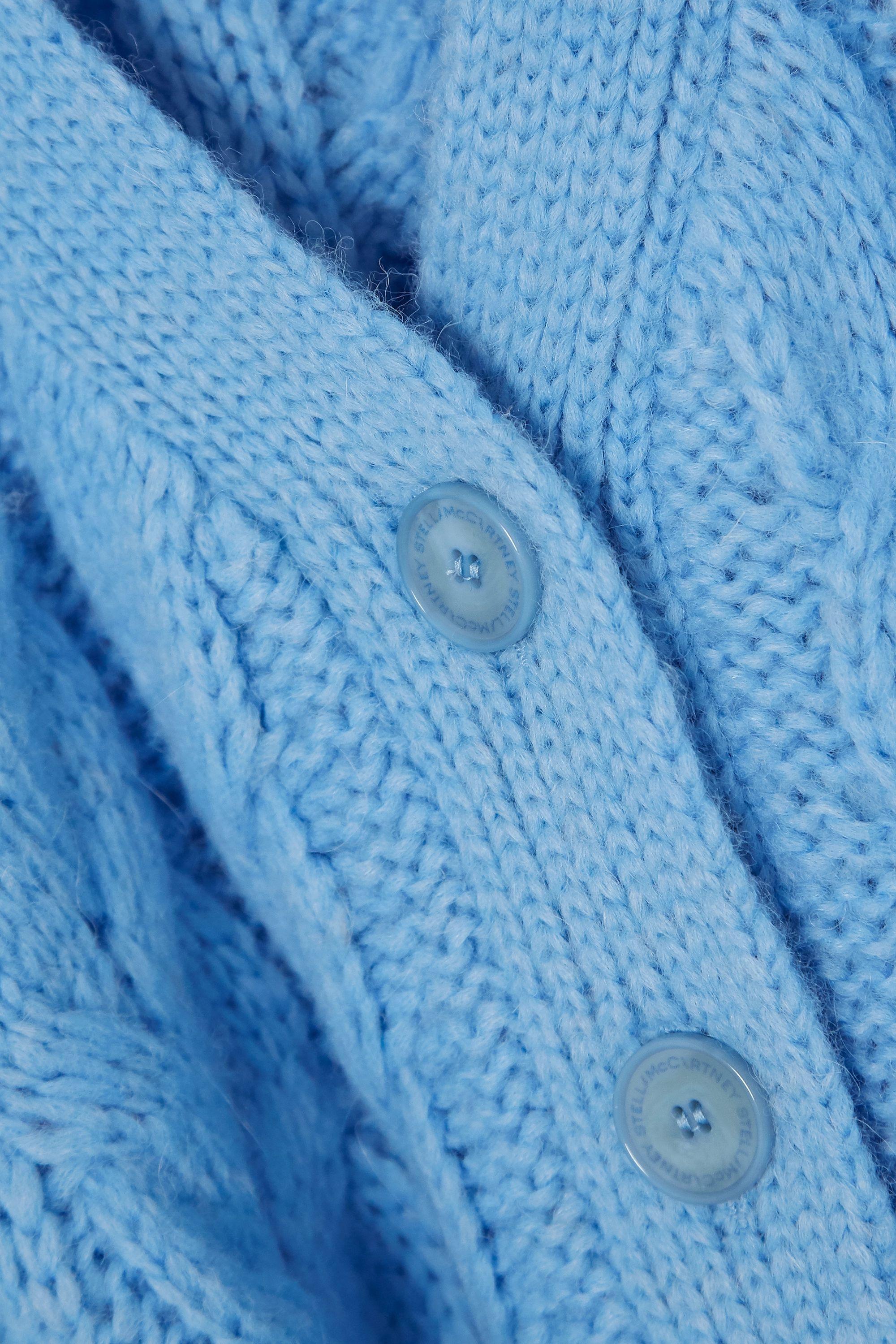 Stella McCartney Distressed cable-knit alpaca-blend cardigan