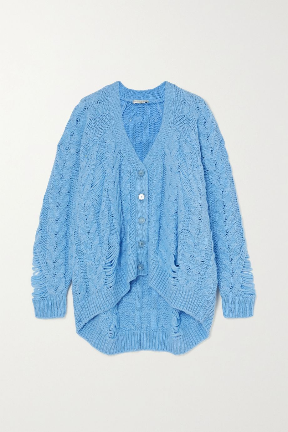 Stella McCartney Distressed cable-knit alpaca-blend cardigan