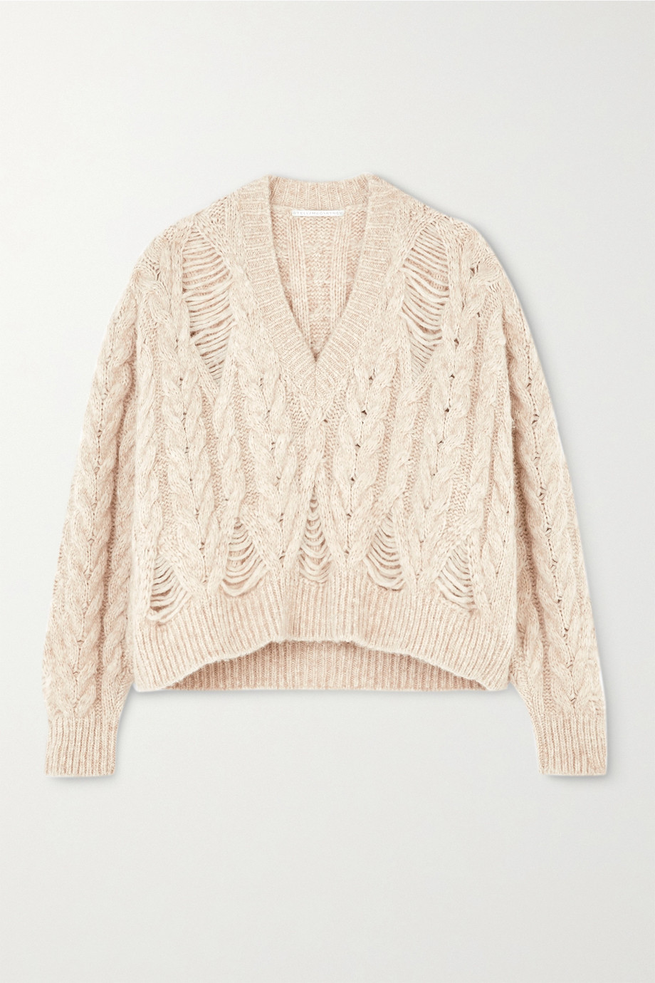 Stella McCartney Distressed cable-knit alpaca-blend sweater