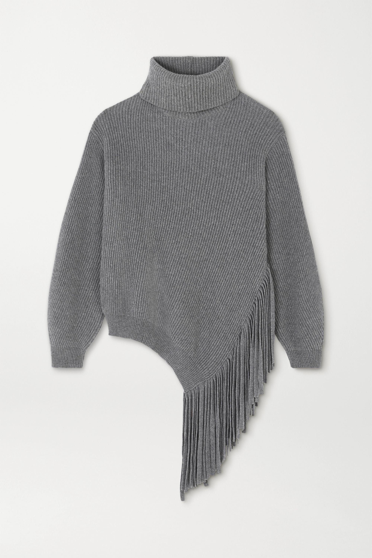 Stella McCartney Oversized-Pullover aus einer gerippten Kaschmir-Wollmischung mit Fransen