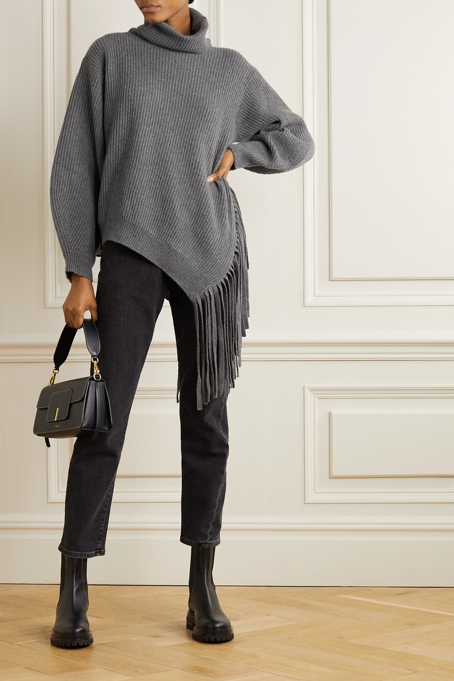 Stella McCartney Oversized fringed ribbed cashmere and wool-blend sweater
