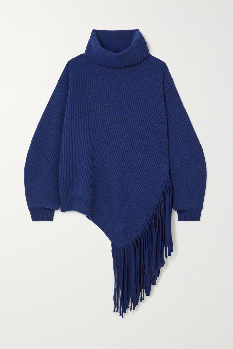 Stella McCartney Asymmetric fringed ribbed cashmere and wool-blend sweater