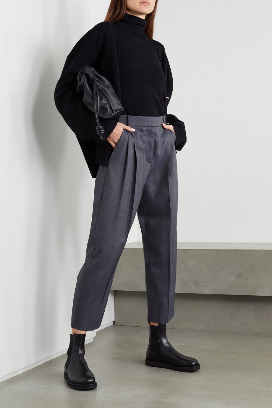 Stella McCartney Dawson cropped pleated wool-blend tapered pants