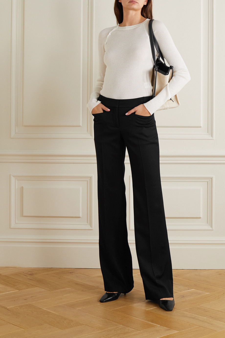 Stella McCartney Claudia Hose mit weitem Bein aus Woll-Crêpe