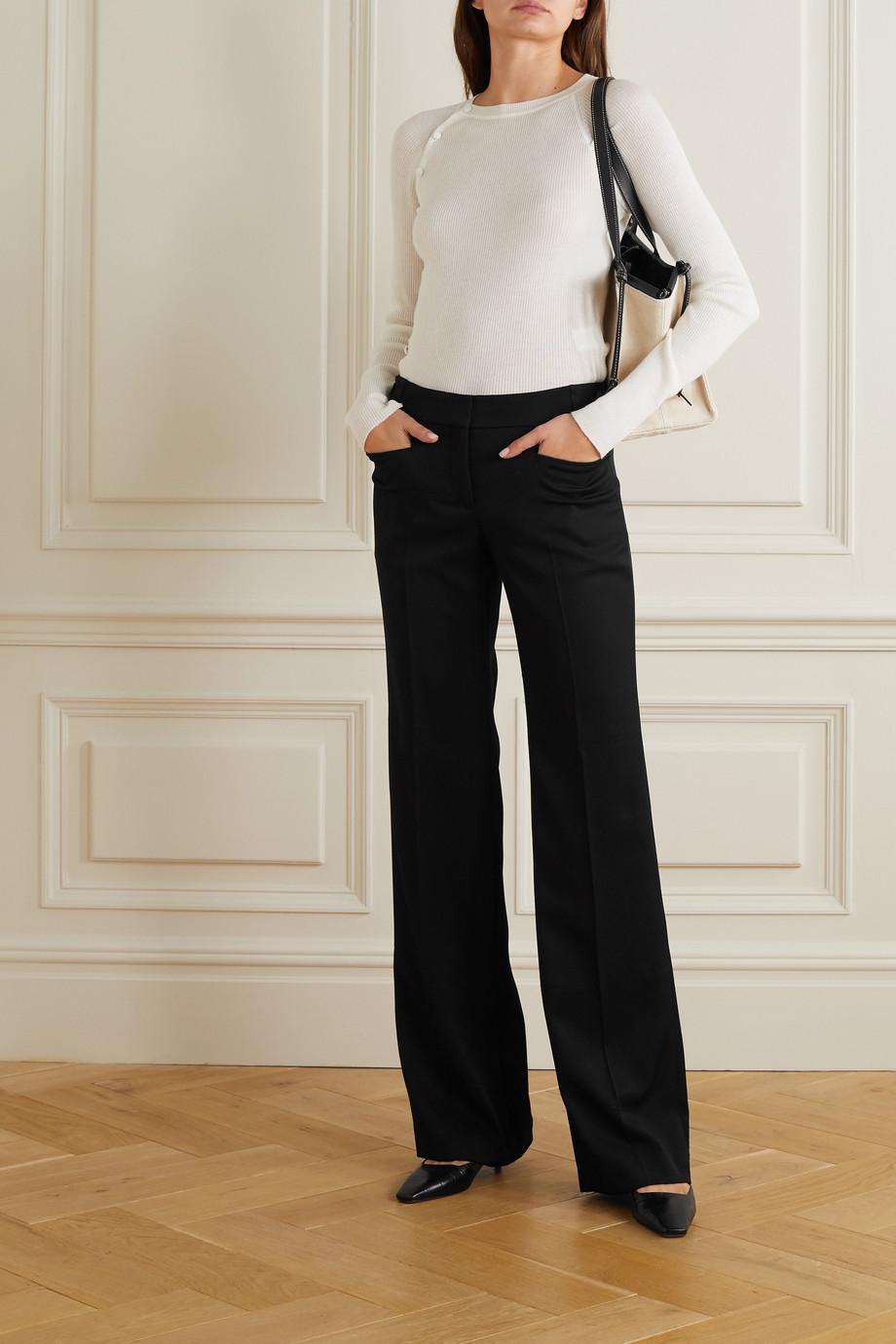 Stella McCartney Pantalon large en crêpe de laine Claudia