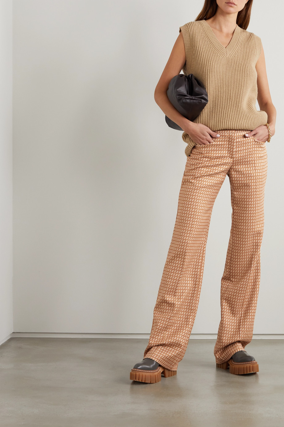 Stella McCartney Claudia wool-jacquard wide-leg pants
