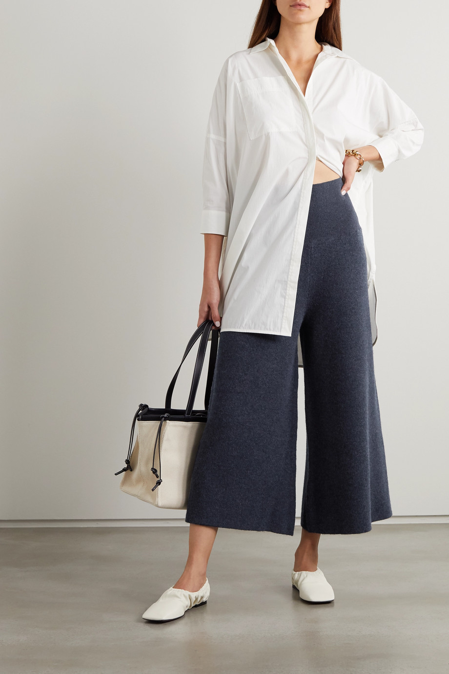 Stella McCartney Ribbed mélange wool and alpaca-blend culottes