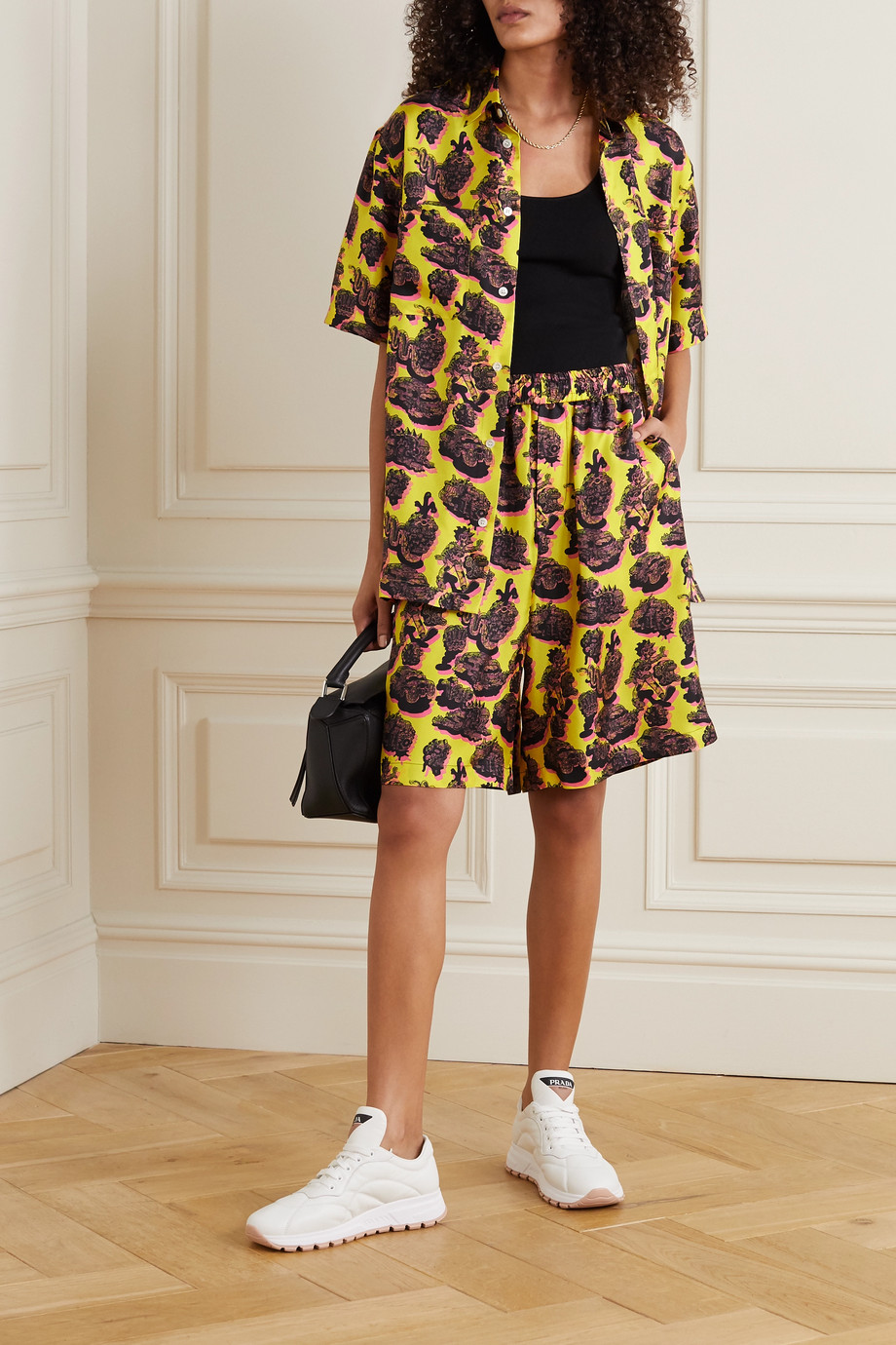 Stella McCartney Timothy printed silk-twill shorts