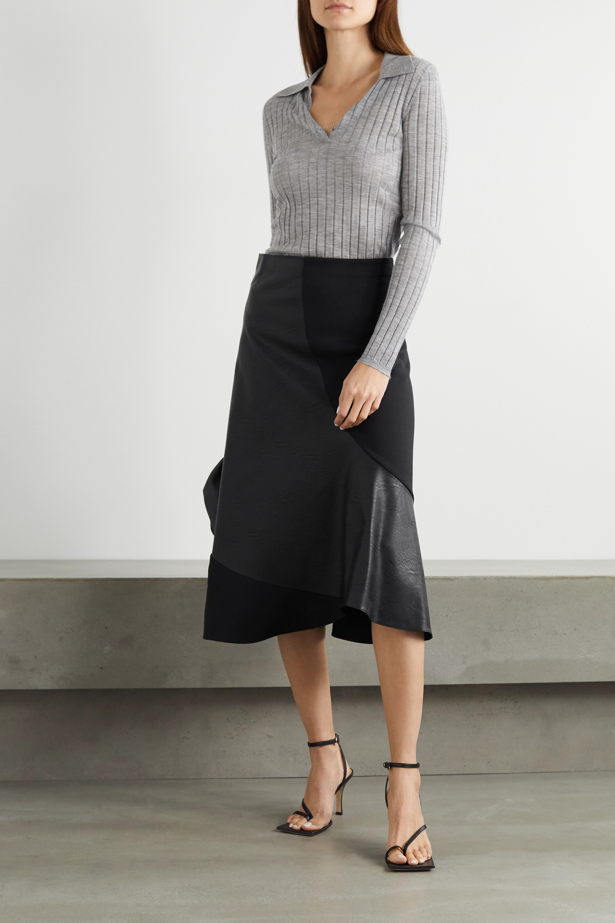 Stella McCartney Brenda paneled stretch-wool and vegetarian leather midi skirt