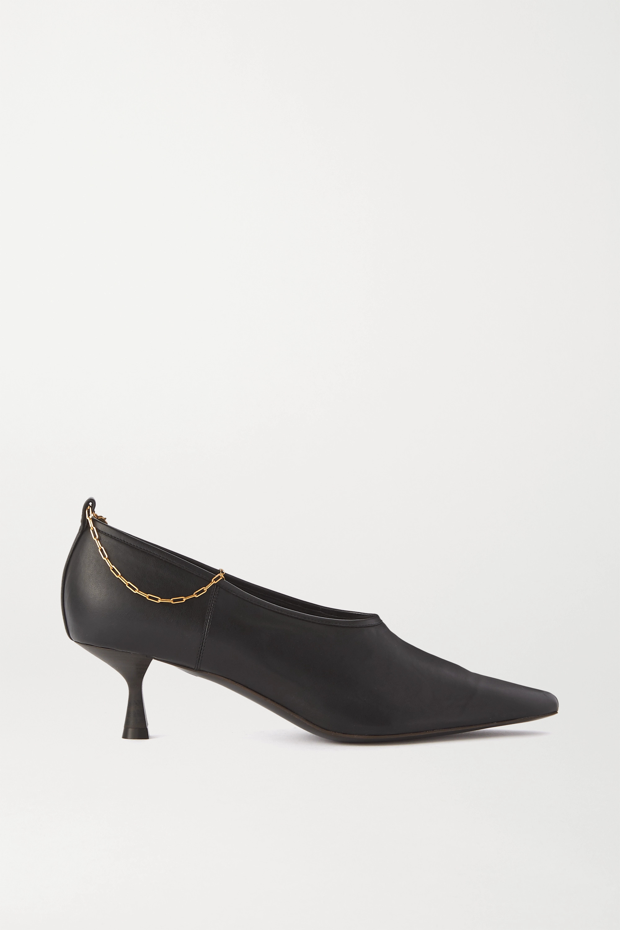 Black Chain-embellished faux leather