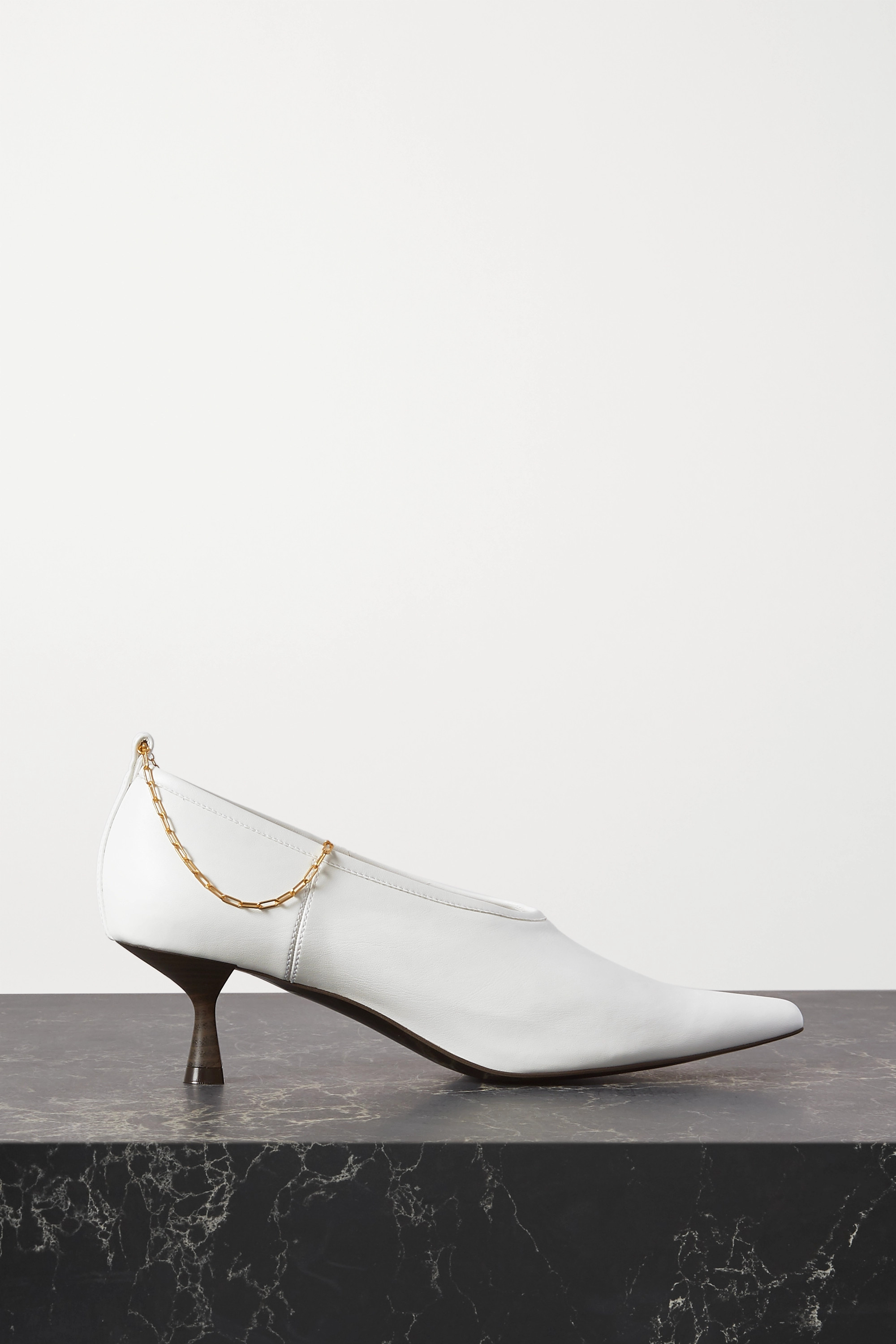 Stella McCartney Chain-embellished faux leather pumps