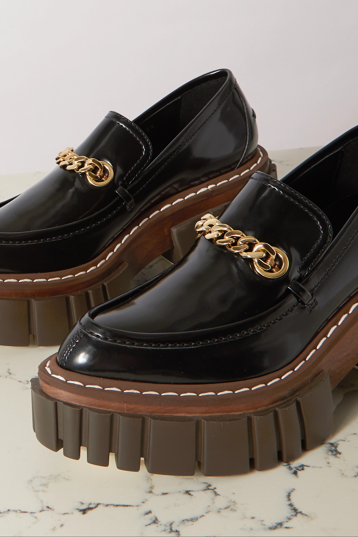 Stella McCartney Chain-embellished faux patent-leather platform brogues