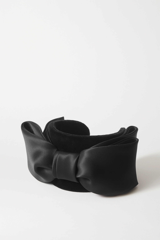 Prudence Millinery Bow-detailed silk satin-trimmed velvet headband