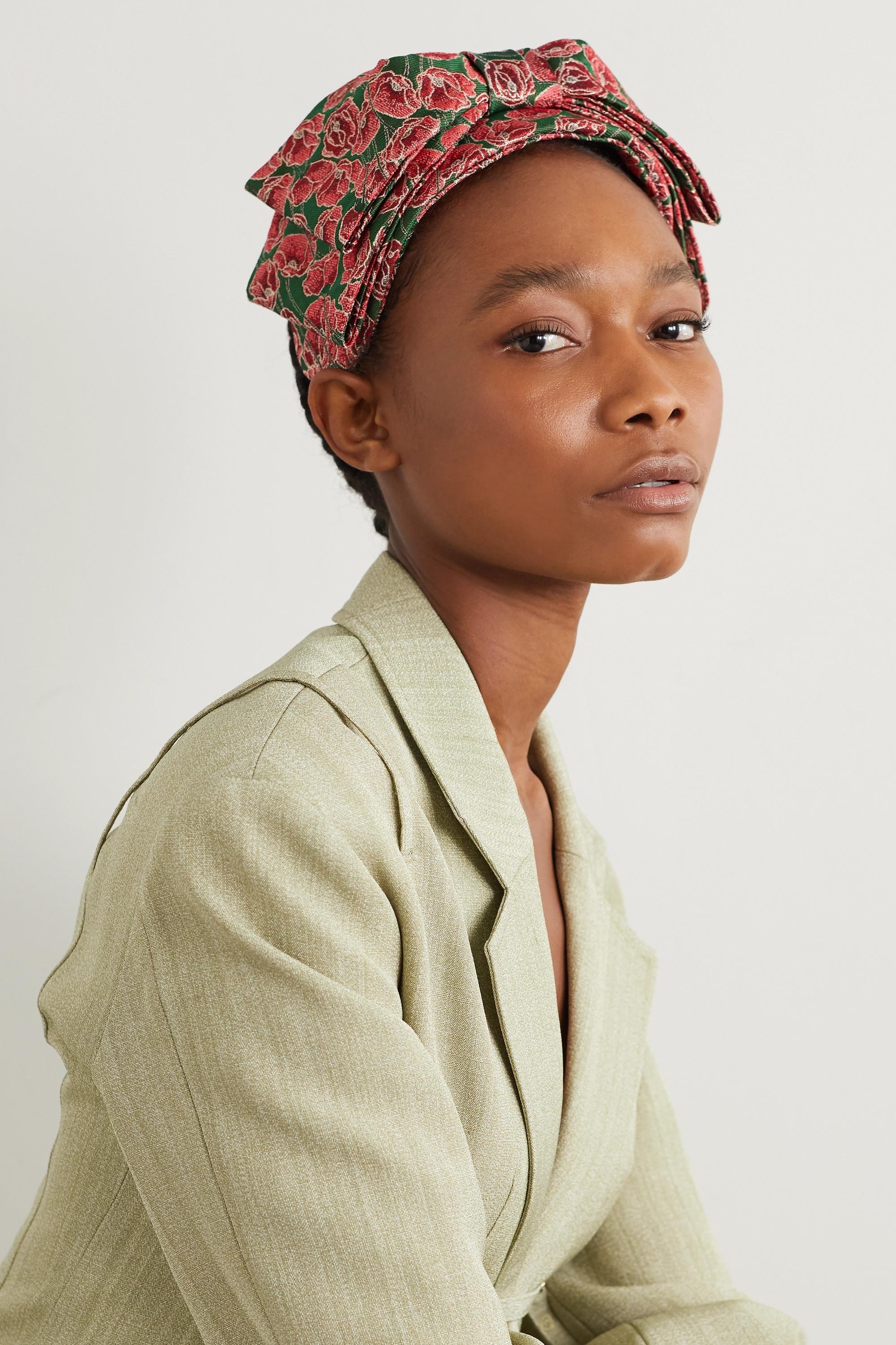 Prudence Millinery Bow-detailed metallic floral-brocade headband