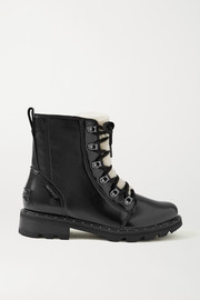 SOREL Lennox Lace Cozy shearling-trimmed waterproof patent-leather ankle boots