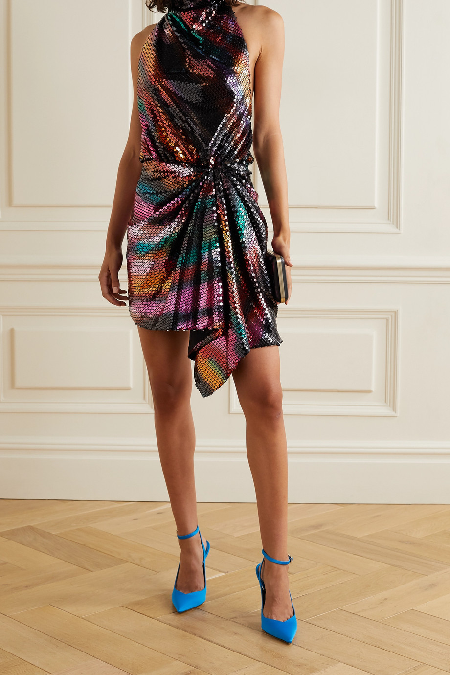 The Attico Sequined chiffon halterneck mini dress