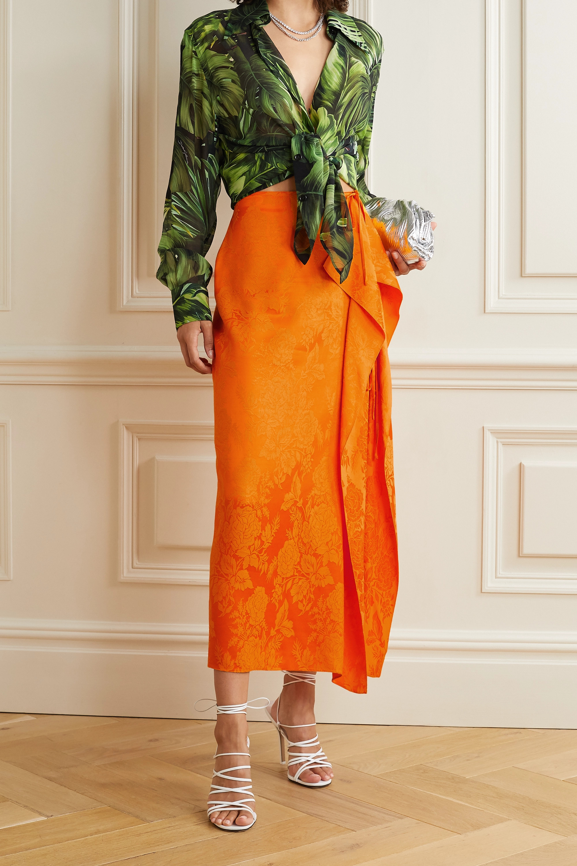 The Attico Draped satin-jacquard midi skirt