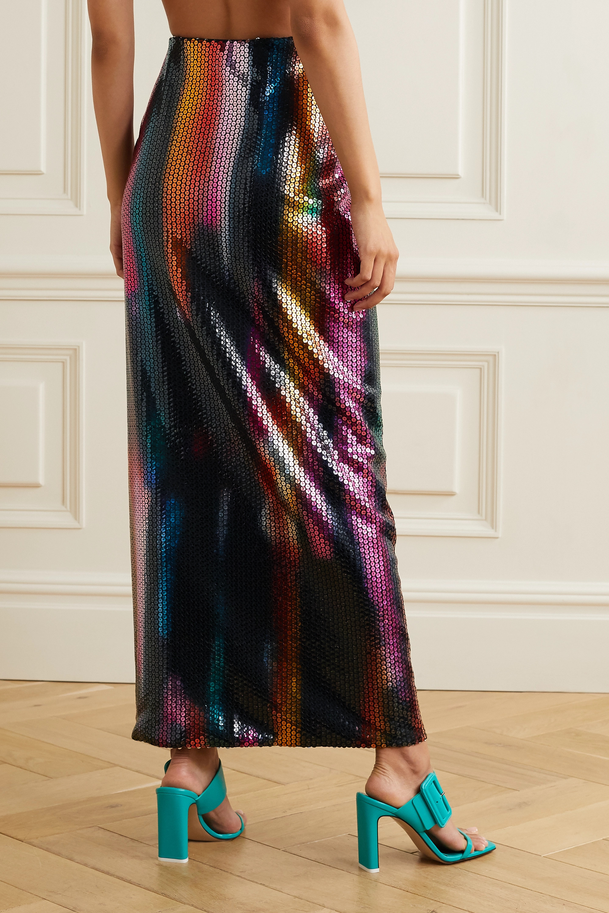 Black Bow-detailed Sequined Satin Maxi Skirt | The Attico