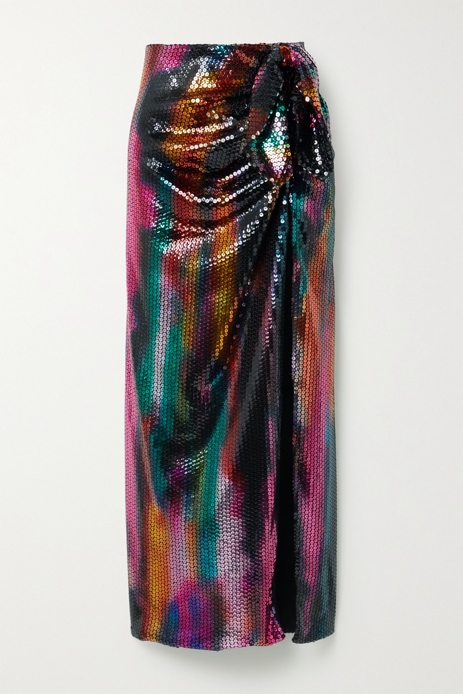 The Attico Bow-detailed sequined satin maxi skirt
