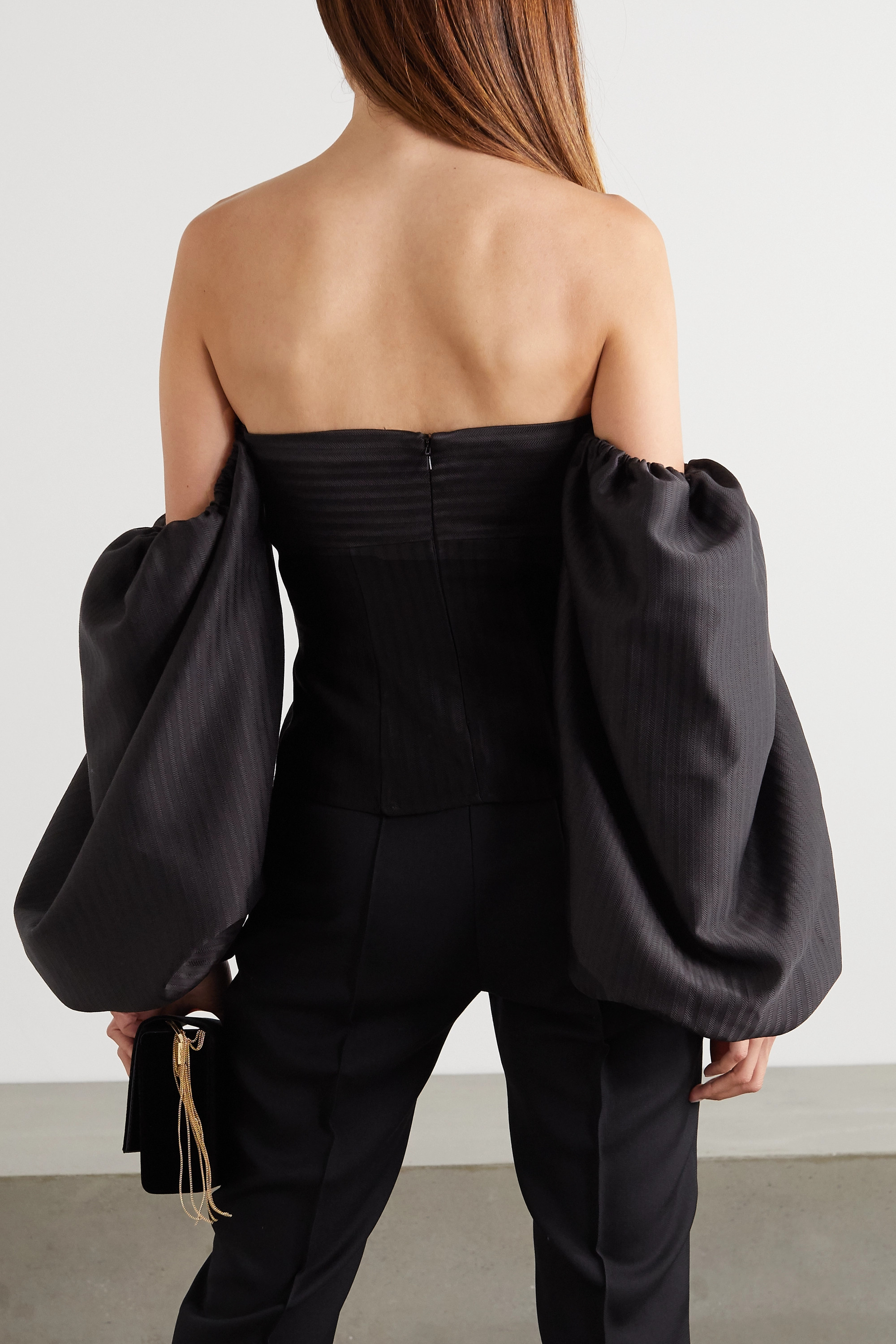 The Attico Cropped off-the-shoulder bow-embellished herringbone satin top