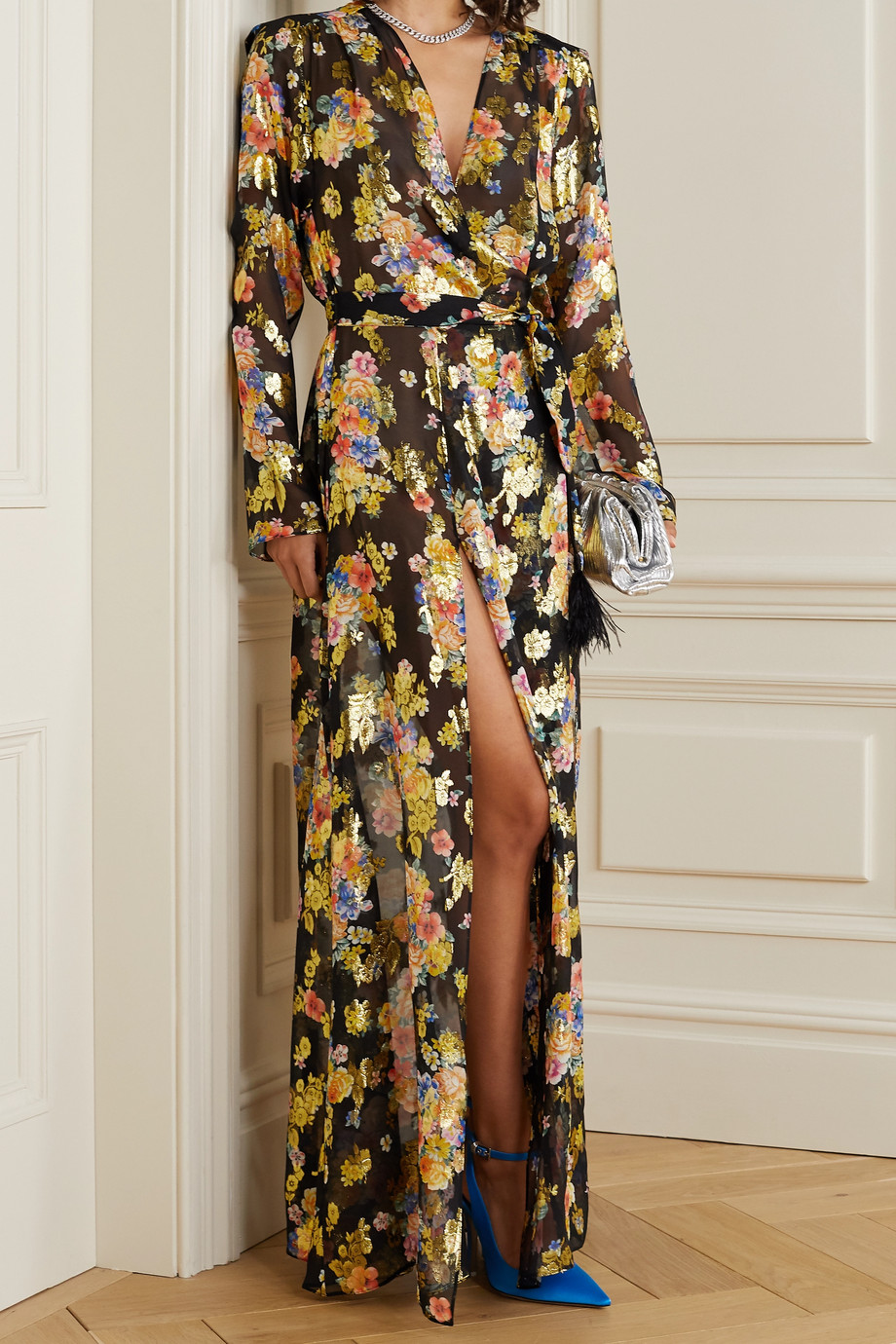 The Attico Floral-print fil coupé silk-blend chiffon wrap maxi dress
