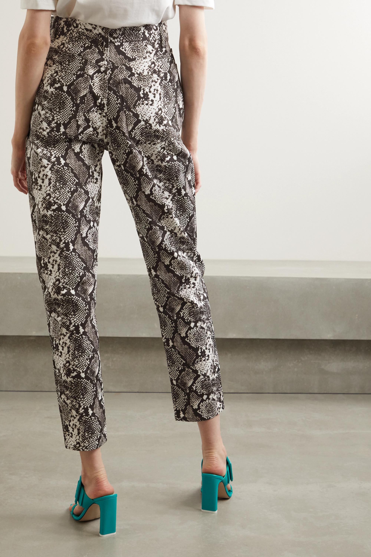 The Attico Snake-print high-rise straight-leg jeans