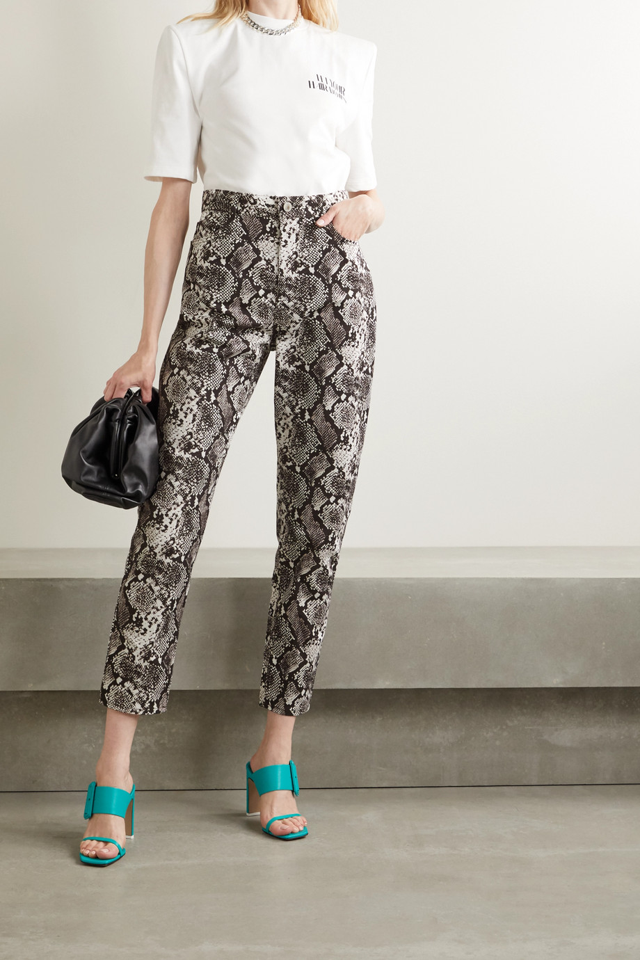 The Attico Snake-print high-rise straight-leg jeans