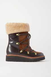 Grenson Camille shearling-lined suede and leather ankle boots