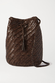 Dragon Diffusion Pom Pom Double Jump woven leather bucket bag