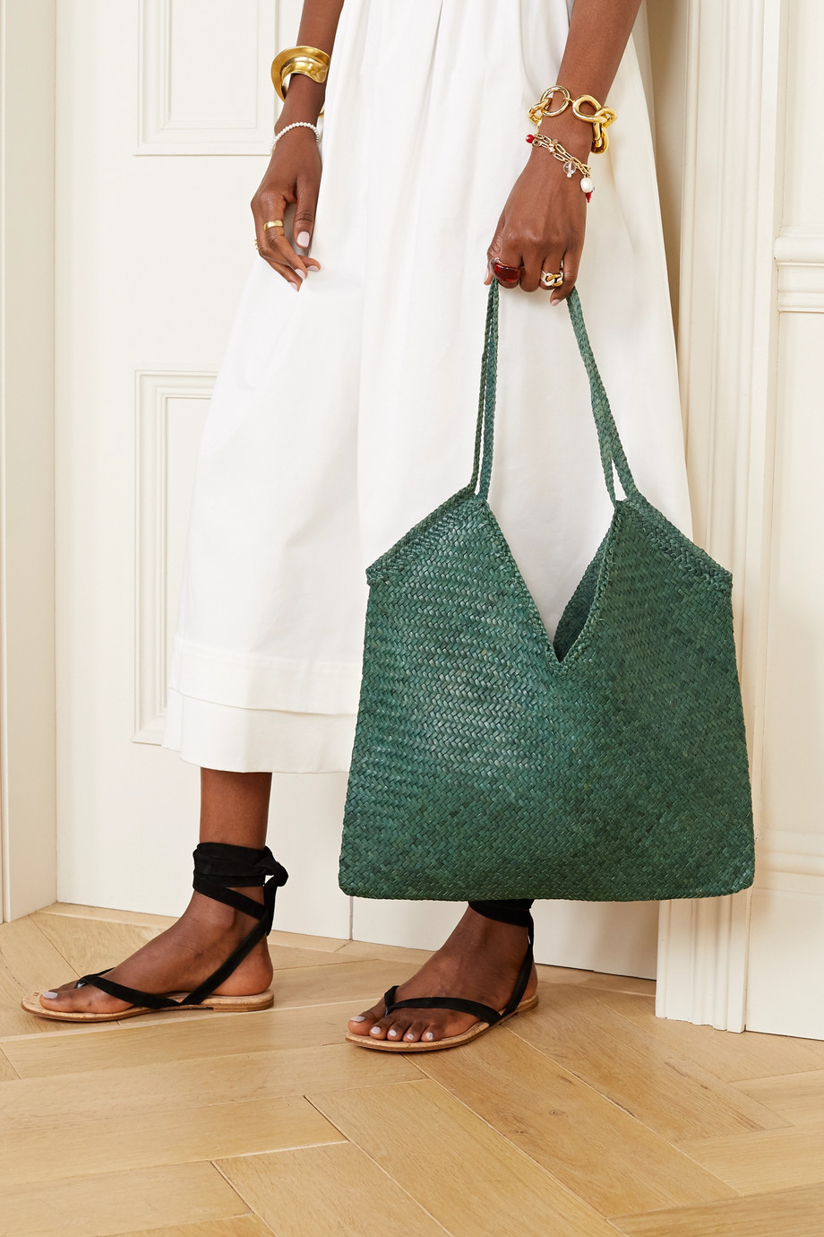 Dragon Diffusion V woven leather tote
