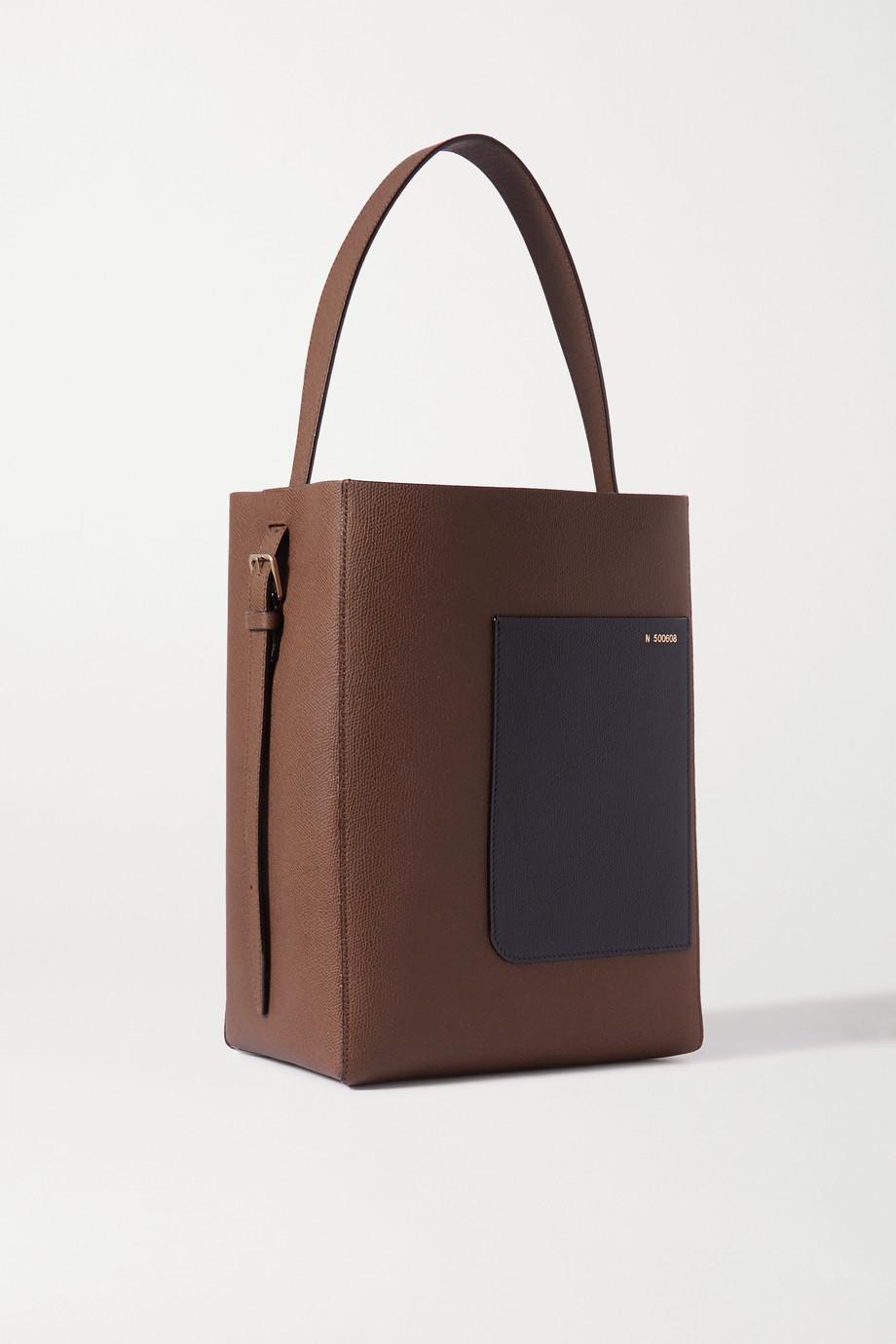 Valextra Secchiello zweifarbige Schultertasche aus strukturiertem Leder