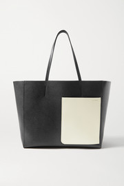 Valextra Shopper large two-tone textured-leather tote
