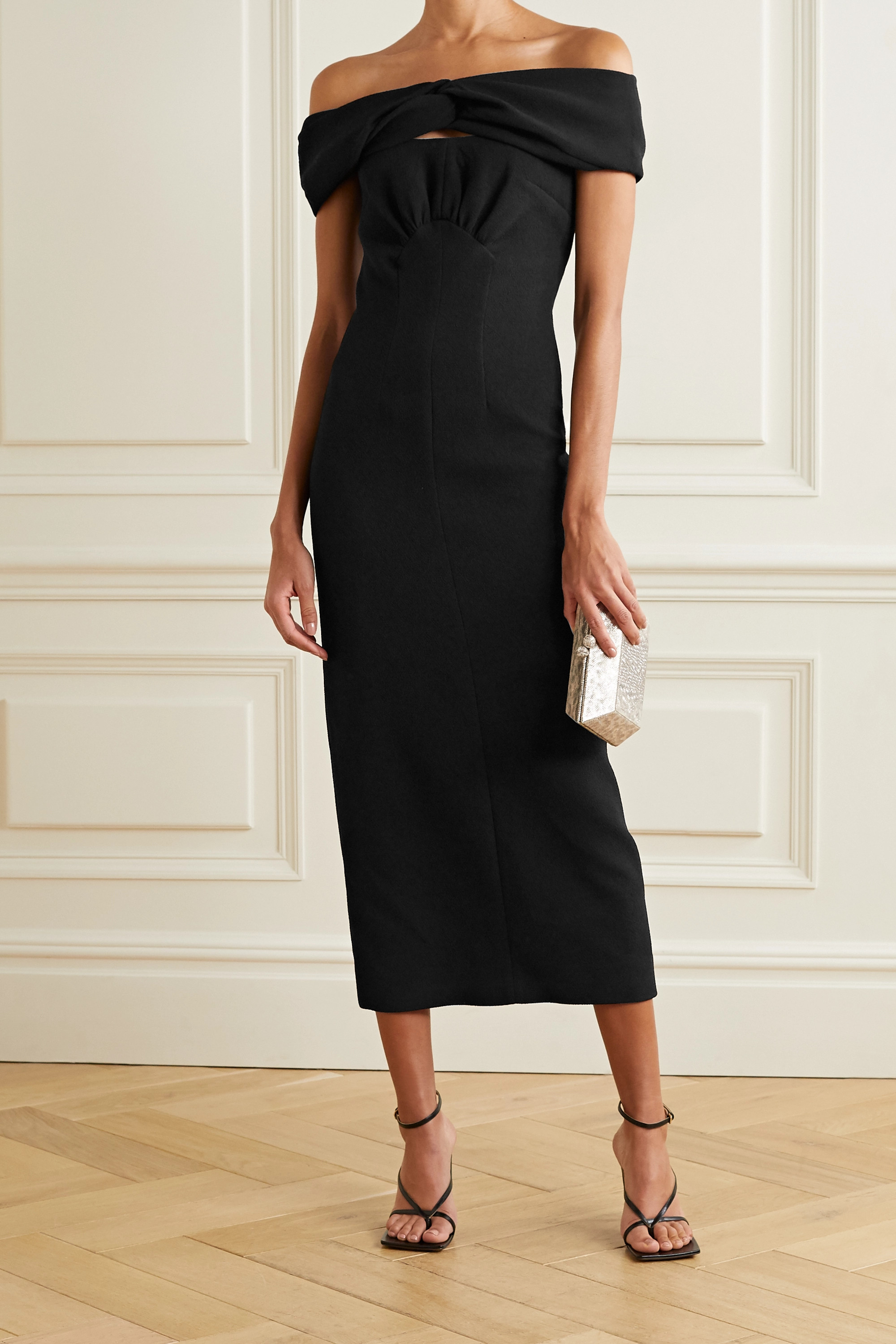Emilia Wickstead Padma off-the-shoulder cutout crepe midi dress