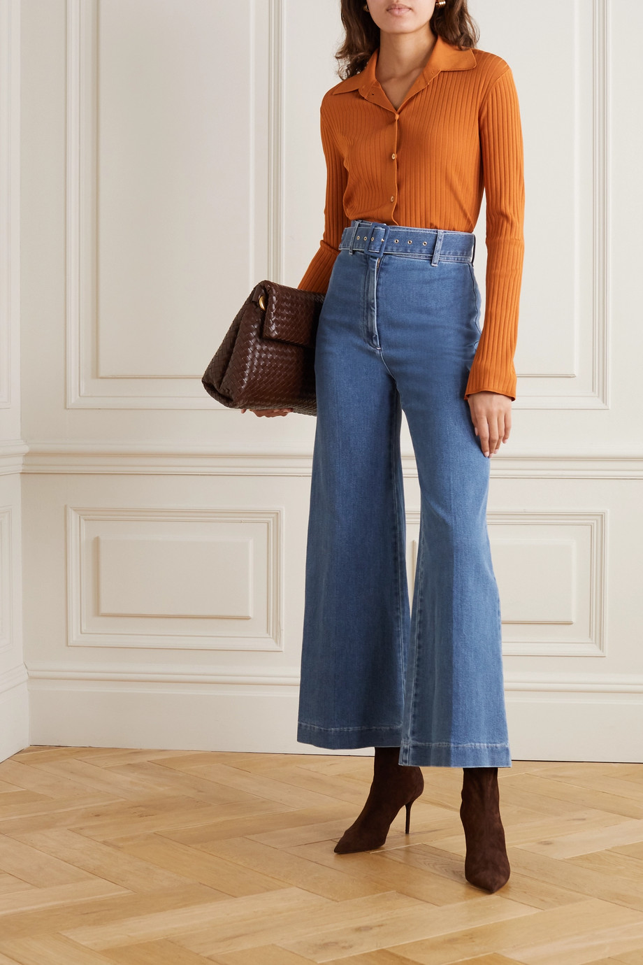 Emilia Wickstead Jada belted high-rise wide-leg jeans