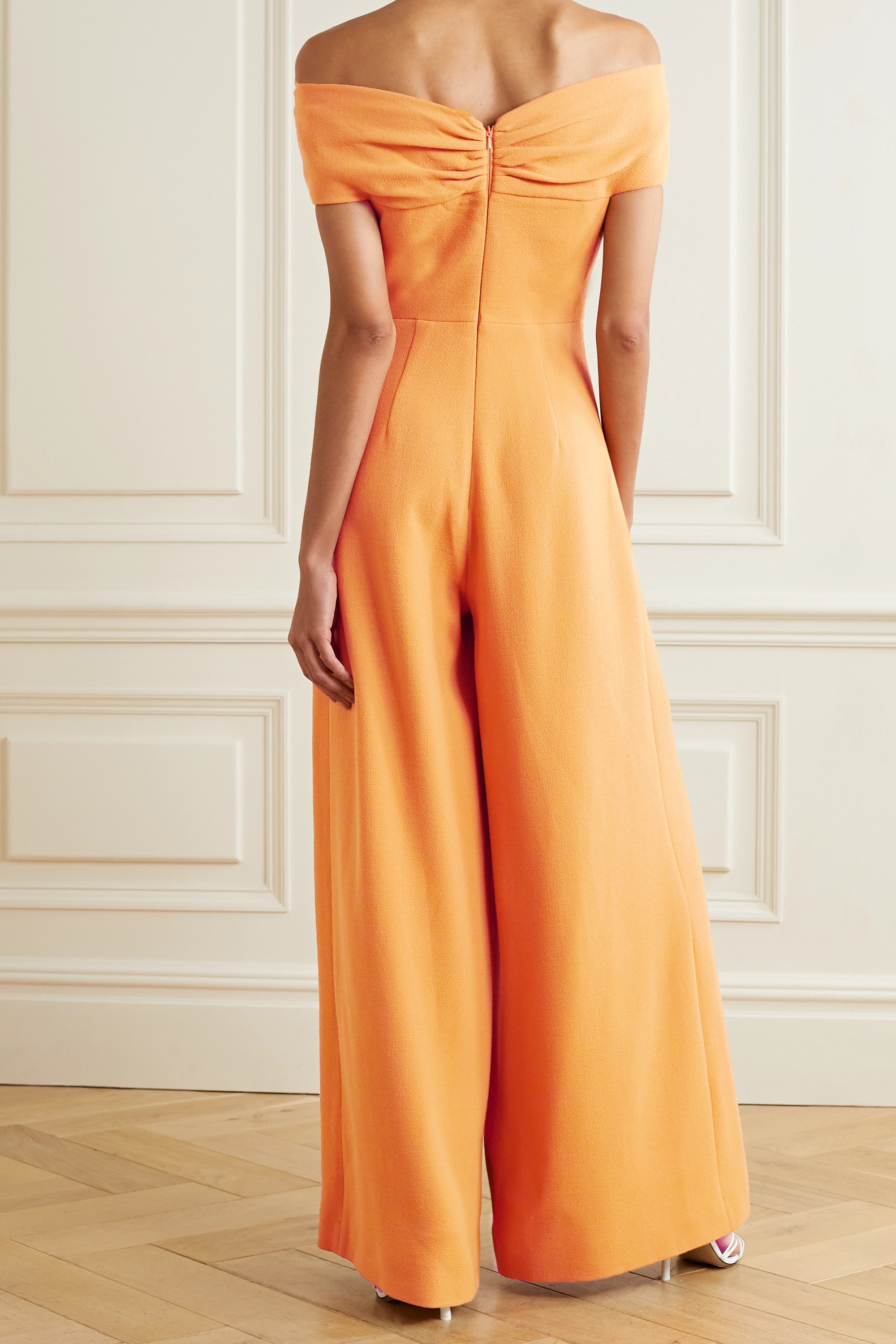 Emilia Wickstead Glenna off-the-shoulder cutout wool-crepe jumpsuit
