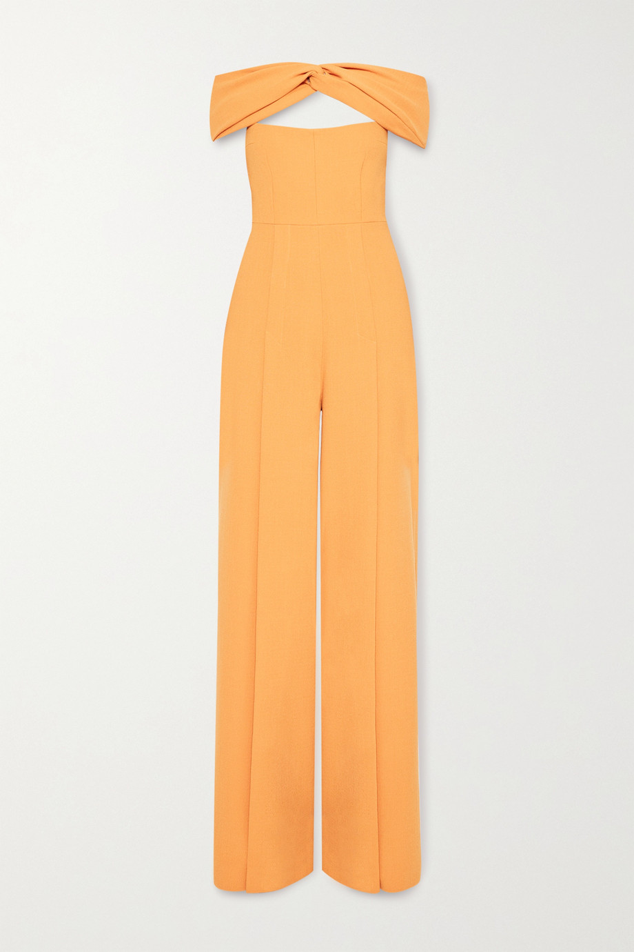 Emilia Wickstead Glenna off-the-shoulder cutout wool-crepe jumpsuit