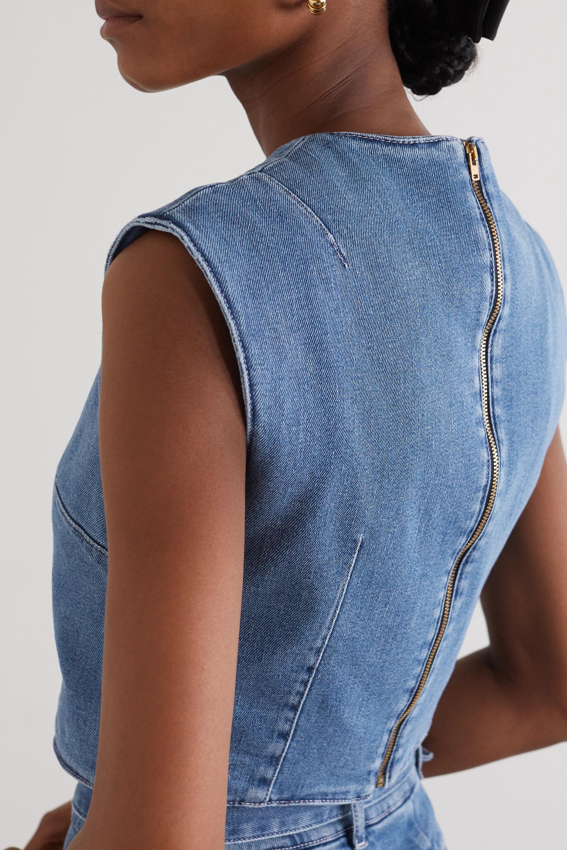 Emilia Wickstead Cilla cropped stretch-denim top