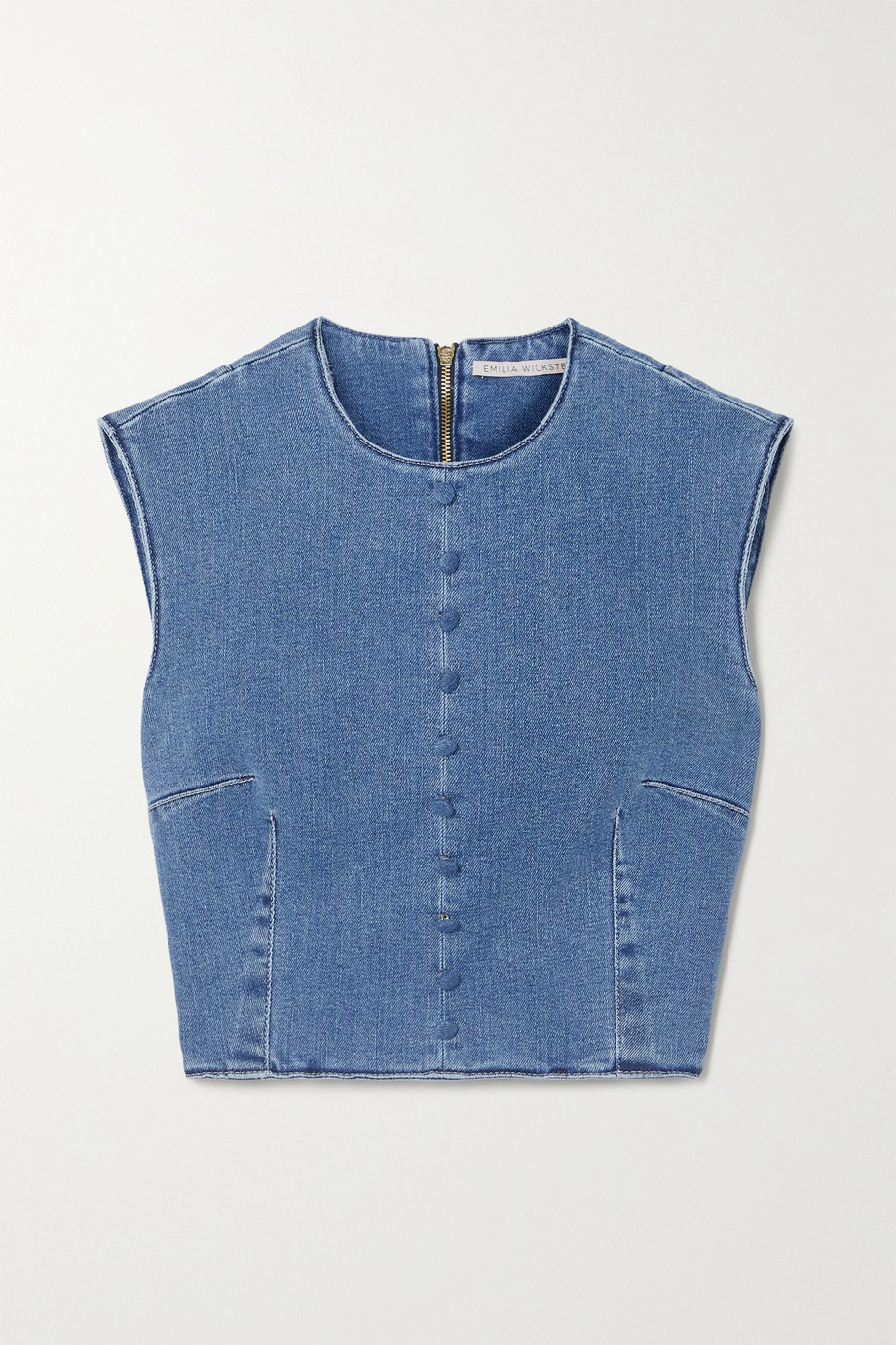 Emilia Wickstead Cilla cropped stretch-denim top