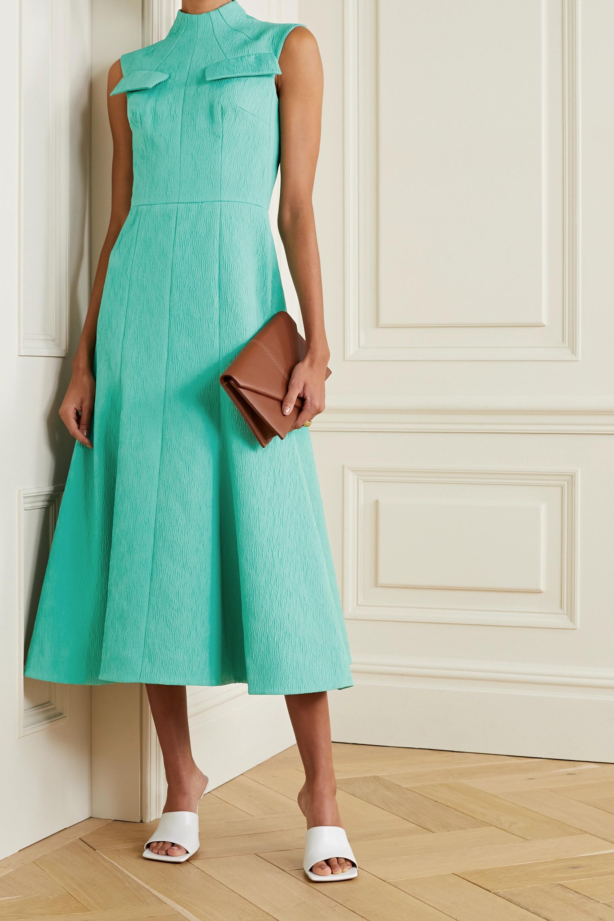 Emilia Wickstead Iago cutout pleated cloqué maxi dress