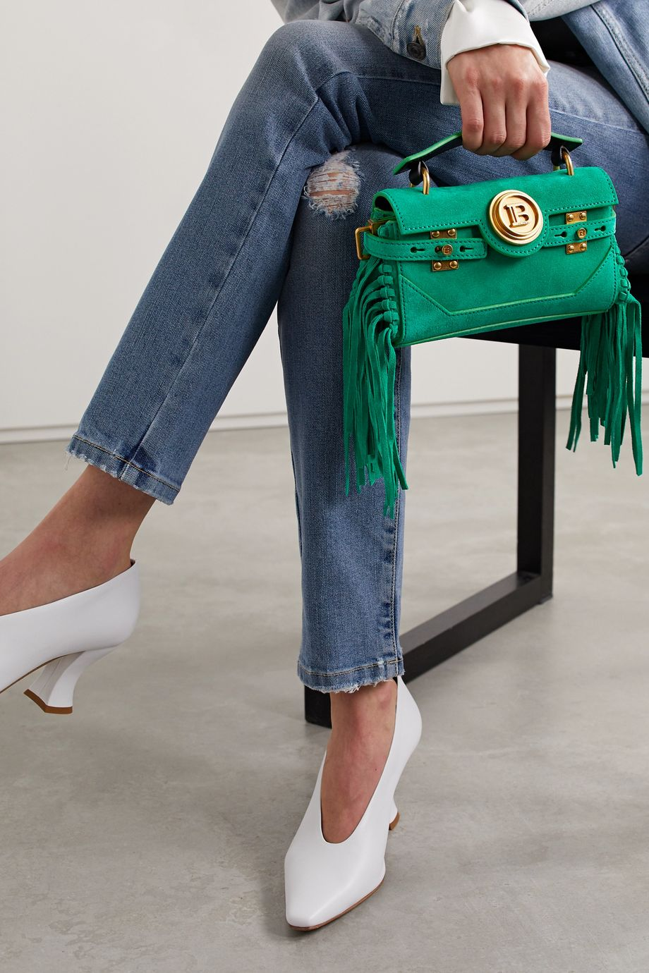 Balmain BBuzz Baguette fringed suede shoulder bag