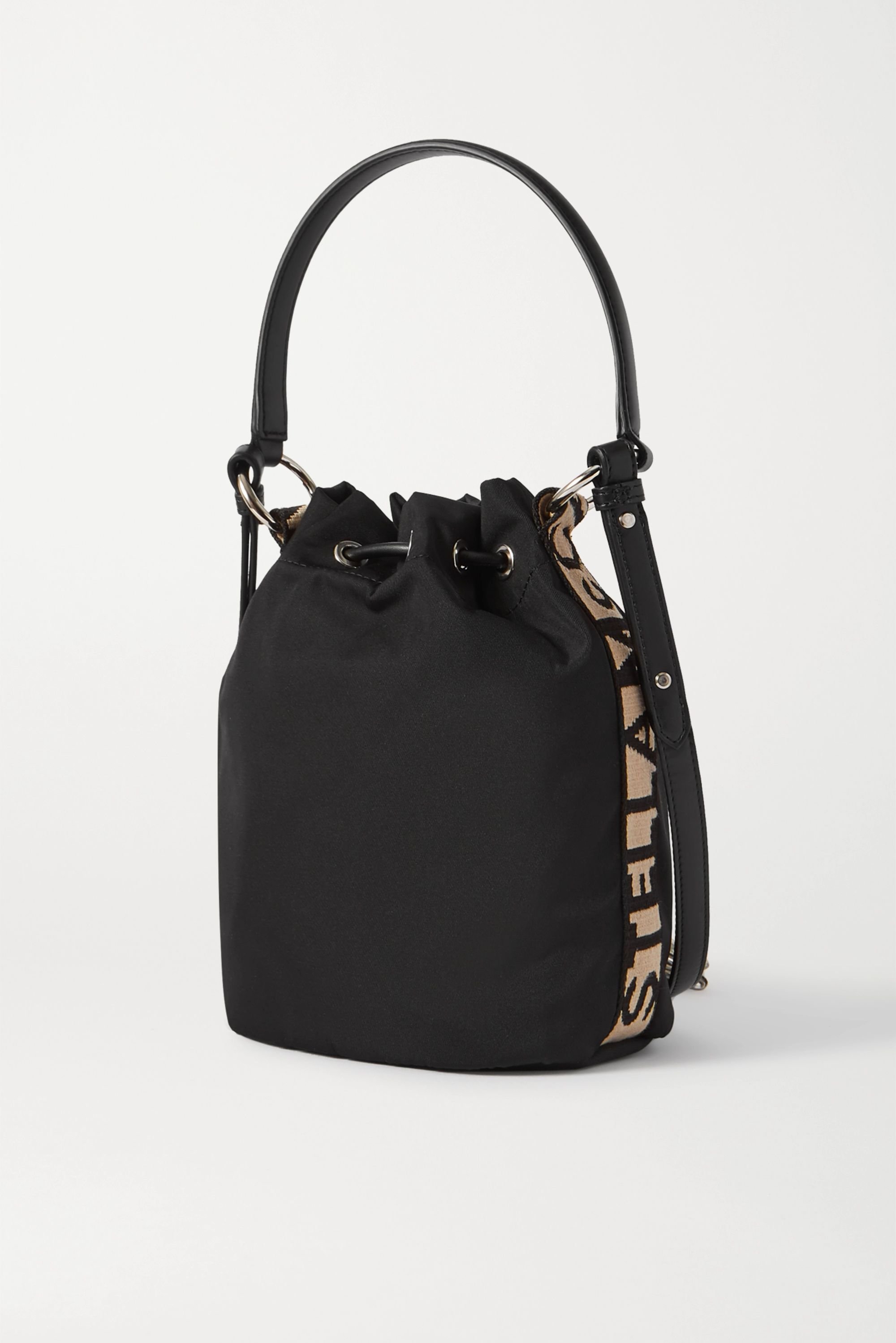 Stella McCartney Small faux leather-trimmed ECONYL bucket bag