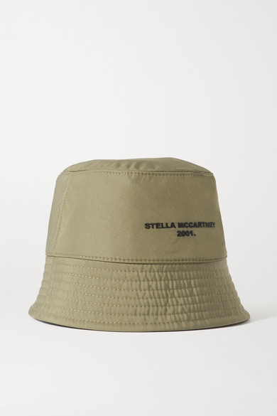 Stella Mccartney Reversible Embroidered Econyl Bucket Hat In Beige