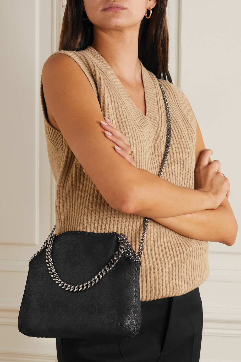 Stella McCartney Falabella mittelgroße Schultertasche aus gebürstetem Kunstleder