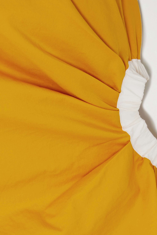 Yellow Refulgence Of Stars One-shoulder Cutout Cotton-blend Poplin Dress | Johanna Ortiz