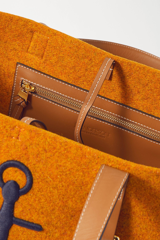 JW Anderson Belt medium embroidered leather-trimmed felt tote
