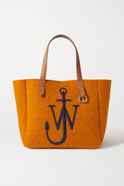 JW Anderson Belt medium embroidered leather-trimmed felt tote