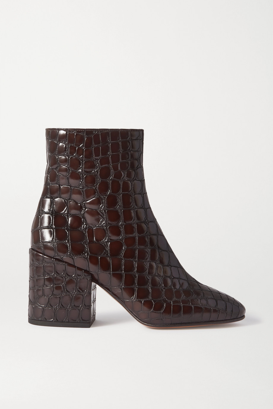 Dries Van Noten Croc-effect glossed-leather ankle boots