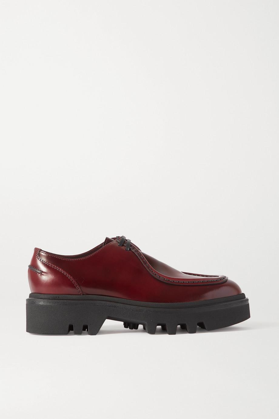 Dries Van Noten Glossed-leather platform brogues