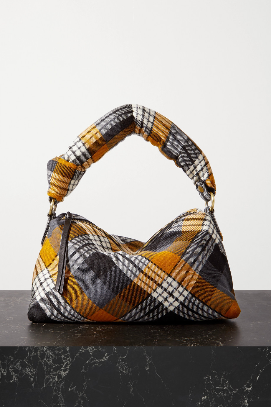 Dries Van Noten Pillow medium tartan wool-blend flannel tote